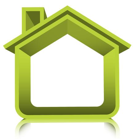installateur: Vector illustratie van groene huis. Stock Illustratie