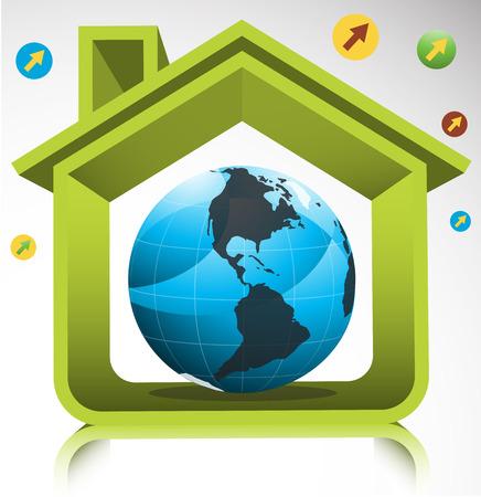 installateur: Vector illustratie van groene huis en wereld bol.