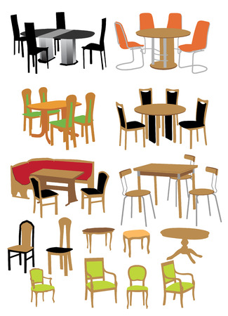 Vector set of kitchen furniture.