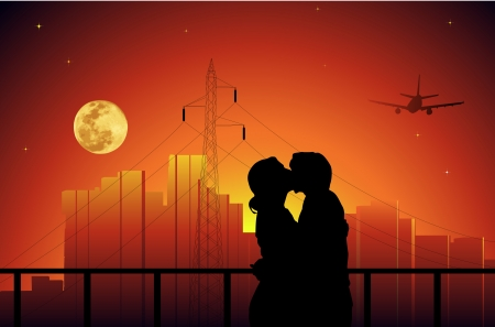 Vector illustration of couple on sunset.