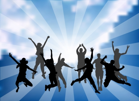 Vector illustration of happy people jumping. Illustration
