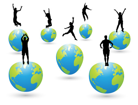 Vector illustration of happy people jumping. Illustration
