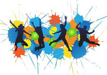 illustratie van gelukkige mensen springen