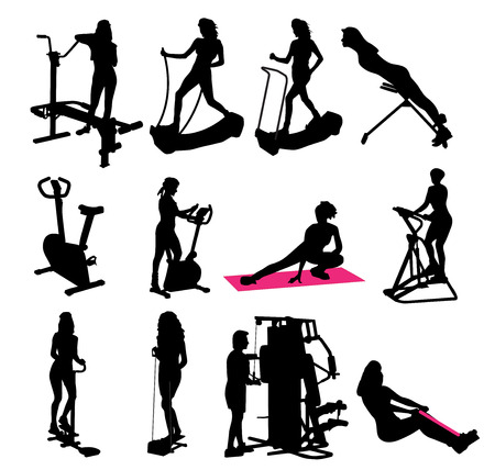 illustration of fitness silhouettes