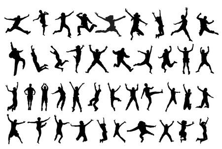 illustration of jumping people silhouettes   向量圖像