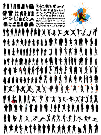 set of people silhouettes  Illustration