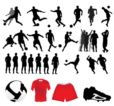 illustration of soccer silhouettes  Vector
