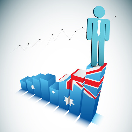 Vector illustration of businessman on Australian graph. Contains blending mode.