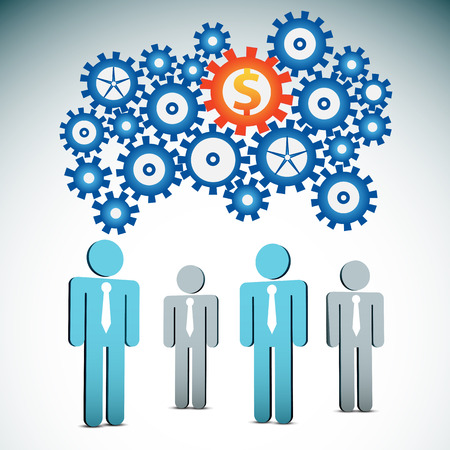 Vector illustration of business people and gears.  Contains blending mode.  Illustration