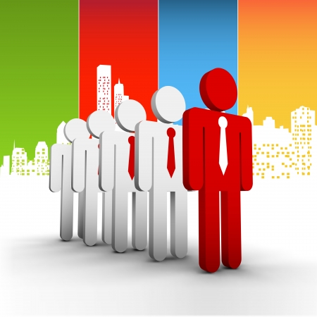 Vector illustration of business people in the city. EPS10 file. Contains blending mode.  Illustration