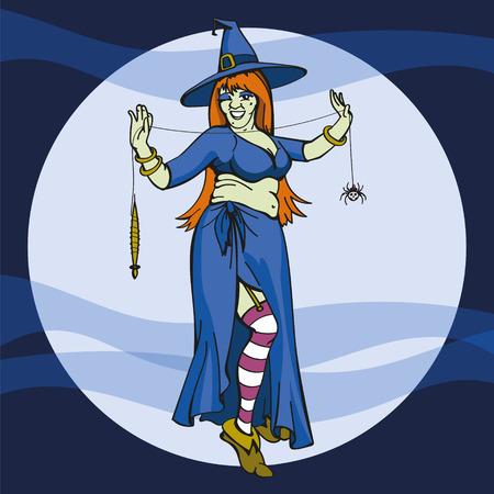 harridan: Bruja de Halloween con la ara�a Web Vectores