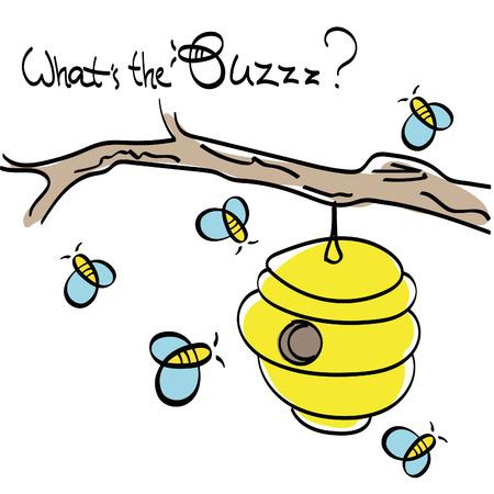 the bee: Abejas volando alrededor de la Colmena Vectores