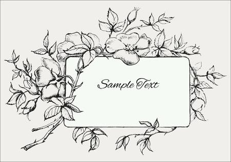 dessin noir et blanc: Hand Drawn Cadre Fleur avec Chien-Rose Illustration