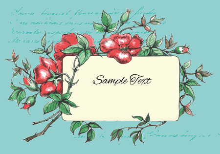 dogrose: Hand Drawn Flower Frame with Dog-Rose Illustration