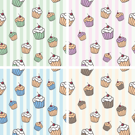tileable background: Cupcake vector seamless tileable background