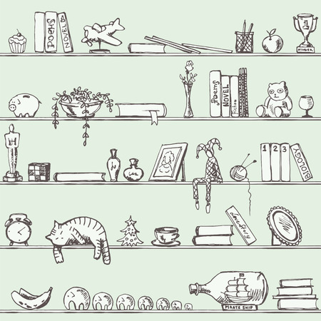 stuff toys: Endless Shelf with Books and Other Stuff