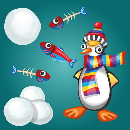 snowballs: Funny Penguin with Fishes and Snowballs