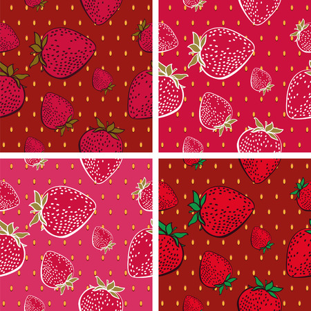 rich in vitamins: Seamless Background with Bright Strawberry Pattern(4 in set)