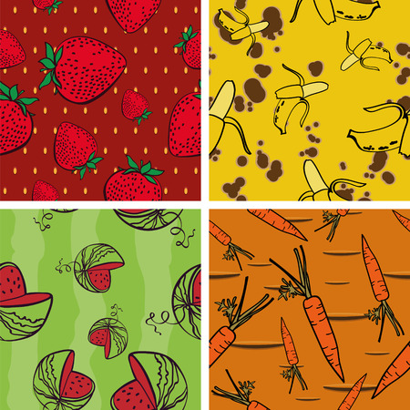 rich in vitamins: Seamless Background with Bright Vegetarian Pattern(4 in set)