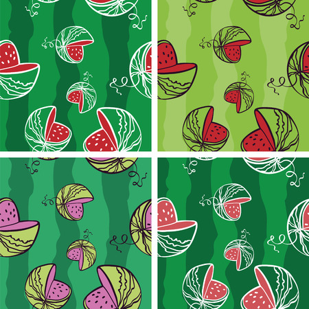 rich in vitamins: Seamless Background with Bright Watermelon Pattern (4 in set)