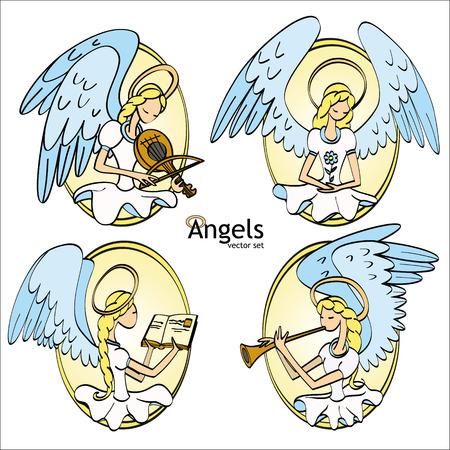 sacramental: Set of Four Lovely Cartoon Style Angels