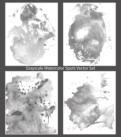 grayscale: Abstract Watercolor Grayscale Spots (vector background)