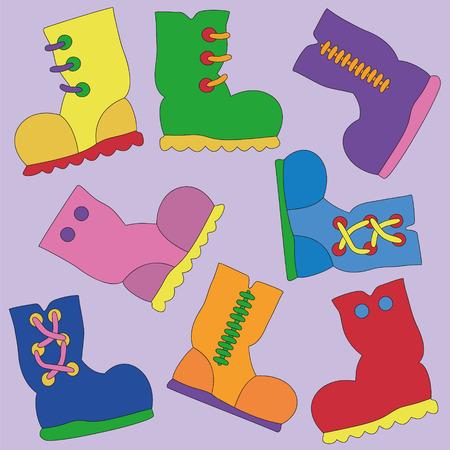 Set of Vector Bright Gumboots