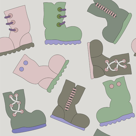 Vector Seamless Texture with Gumboots Pattern Vector