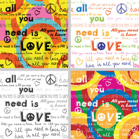 All You Need Is Love(Set of 4 Seamless Backgrounds with Hand Written Text)  イラスト・ベクター素材
