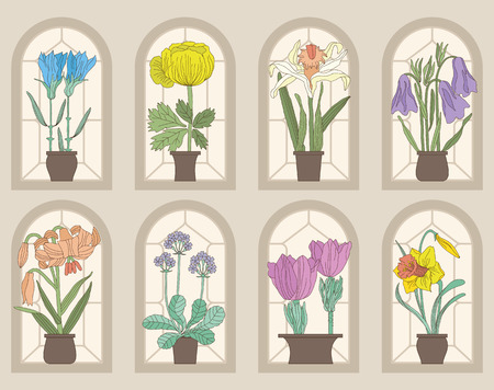 Vintage Style Flowers On Window Sills (Vector Set)