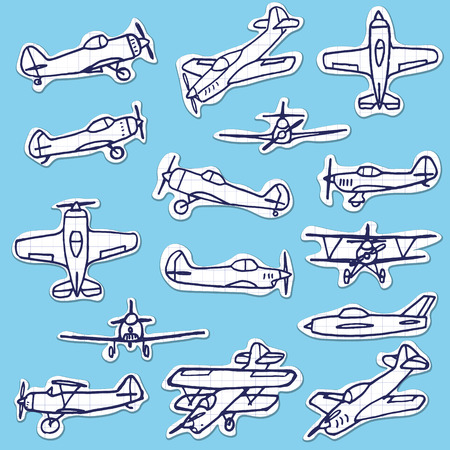 pilotage: Retro Hand Drawn Airplanes Vector Set