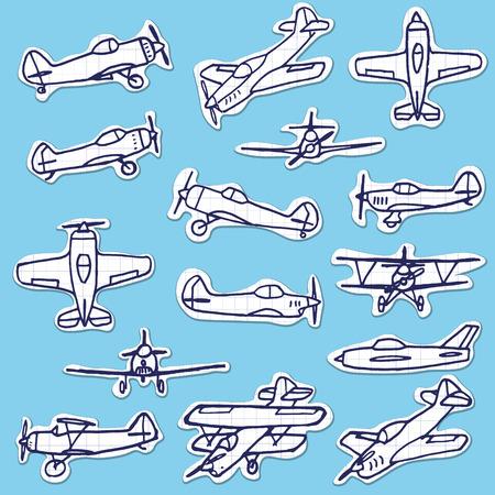 airscrew: Retro Hand Drawn Airplanes Vector Set