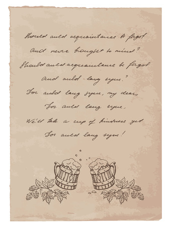 Old Paper with Hand-Written Text and Beer Mugs