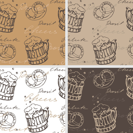 Set of four seamless textures with beer mugs and  pretzels
