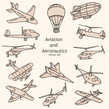 Aviación y aeronáutica conjunto de vectores Ilustración de vector