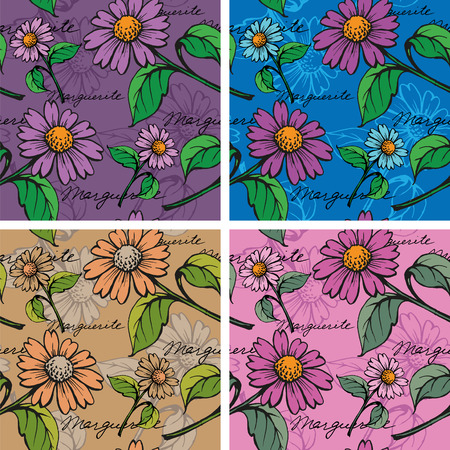 daisy wheel: Seamless Background with hand-drawn Marguerites