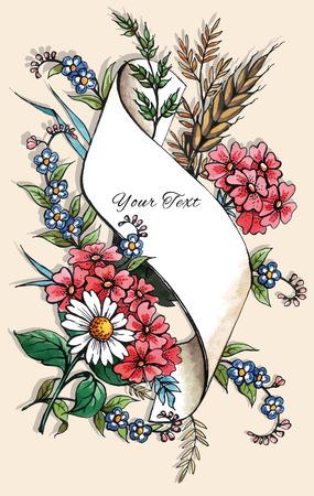 dagvaarding: Hand Drawn Greeting Card Template Stock Illustratie