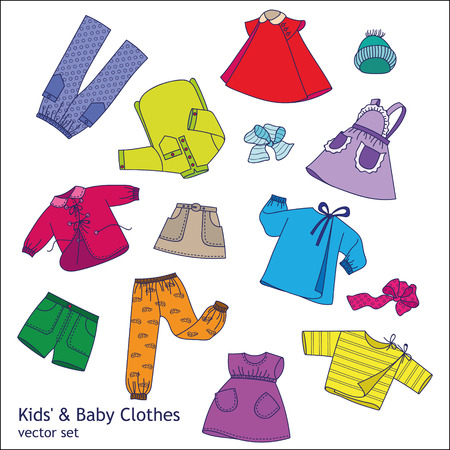 variety: Children clothes vector set