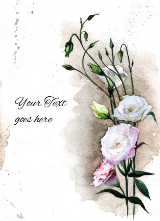 Hand drawn watercolor card with eustoma flowers