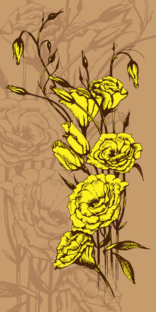 garden stuff: Hand drawn card with yellow eustoma flowers Illustration