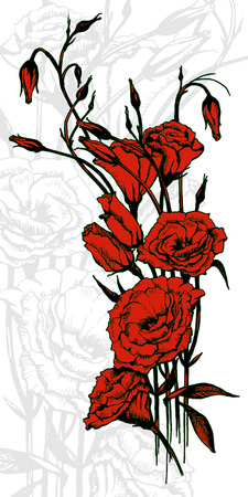 summons: Hand drawn card with red eustoma flowers