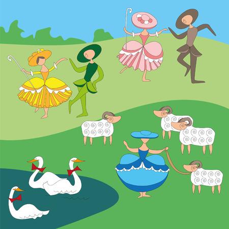 cartoon-style pastoral with dancing shepherdesses