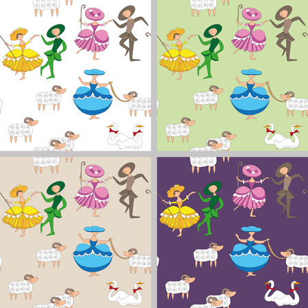 french countryside: cartoon-style pastoral  background with dancing shepherdesses Illustration