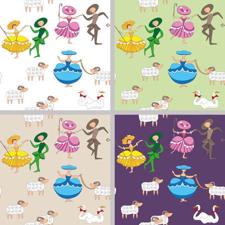 cartoon-style pastoral  background with dancing shepherdesses Иллюстрация