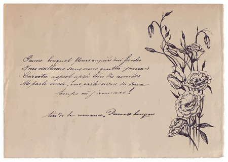 Hand-written poem on old paper background with drawing