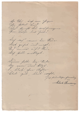 poem: Hand-written poem on old paper background