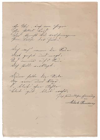 poem: Hand-written poem on old paper background