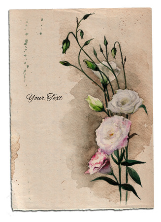 summons: Hand drawn watercolor card with eustoma flowers