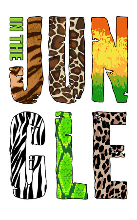 wilds: In The Jungle T-short print on white background