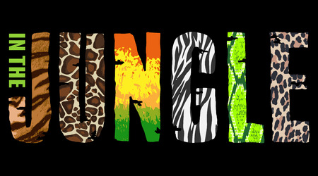 wilds: In The Jungle T-short print on black background